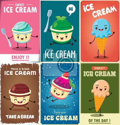 Vintage Ice Cream plakatu projektowania ustaw z lodami charakteru.