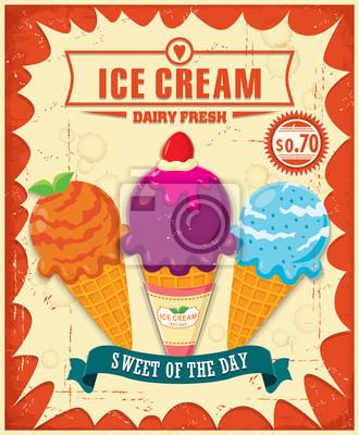 Plakat Vintage Ice Cream projekt plakatu