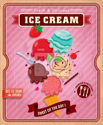 Vintage Ice Cream projekt plakatu