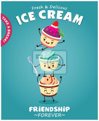 Vintage Ice Cream projekt plakatu z lodami charakterem