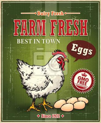 Vintage jajko kurczak zagroda świeży plakat etykieta