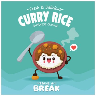 Vintage Japanese food poster design with vector Japanese curry rice characters.