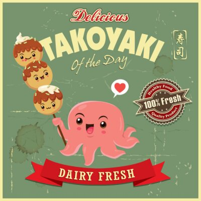 Vintage Japanese food poster design with vector takoyaki and octopus characters. Chinese word means sushi.