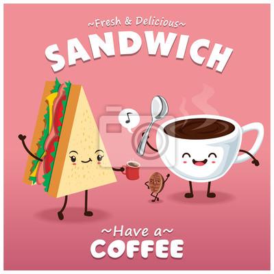 Vintage kanapek i kawy projekt plakatu z wektora kanapkę i charakteru kawy.