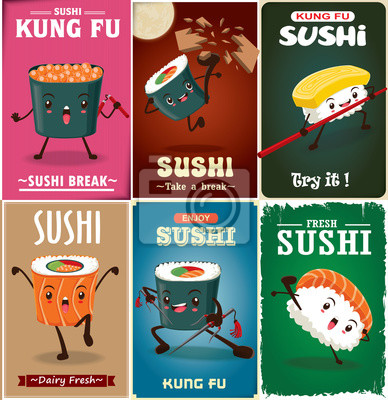 Vintage Kung Fu Sushi projekt plakatu z wektora sushi charakteru. Chiński słowo oznacza sushi.