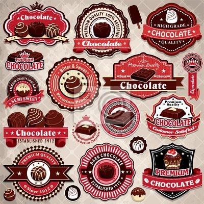 Plakat Vintage label template set czekolada