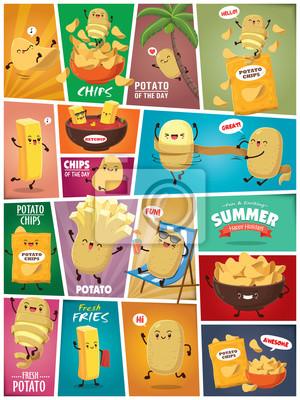 Vintage letni plakat z ziemniakami i frytkami.