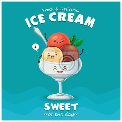 Vintage lody projekt plakatu z wektora lodów charakteru.