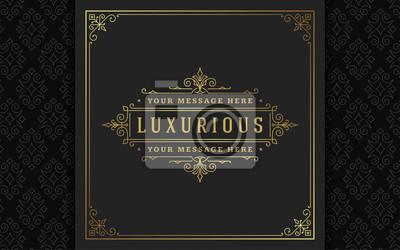 Plakat Vintage logo elegant flourishes line art graceful ornaments victorian style vector template design