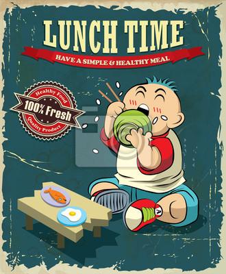 Vintage Lunch time projekt plakatu