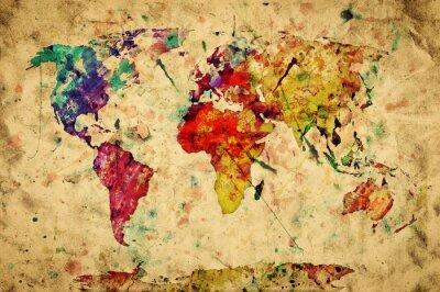 Plakat Vintage mapie świata. Kolorowe farby, akwarela na papierze grunge