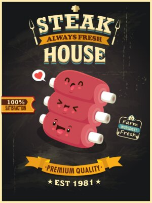 Vintage Meat poster design with vector ribs character.