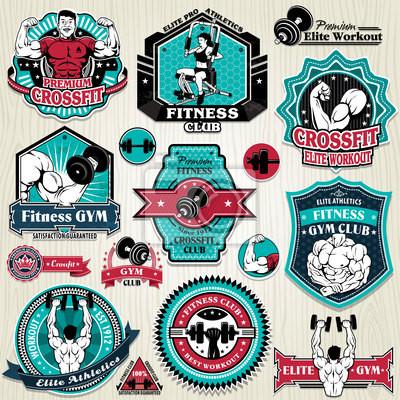 Plakat Vintage mięśnie template set label Gym