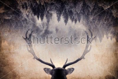 Plakat Vintage minimalistyczny styl podwójnej ekspozycji z poroża i lasu