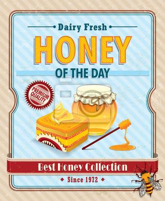Vintage Miód pszczeli z plakatu