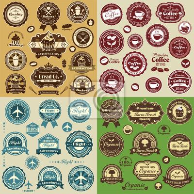 Vintage mix label design set with cupcake, coffee, flight, organic food