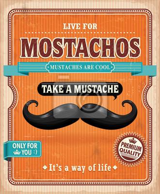 Vintage Mostachos, wąsy plakat projekt