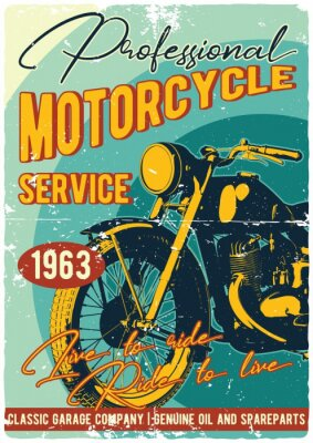 Plakat Vintage motocykl t-shirt lub plakat. Monochromatyczna ilustracja clssic motocykl z tekst dekoracją i grunge teksturą.