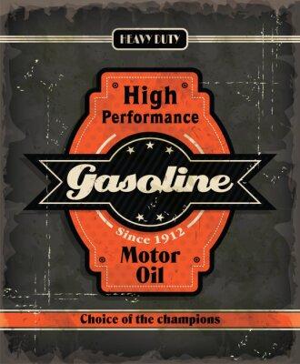 Vintage motor oil projekt plakatu Benzyna