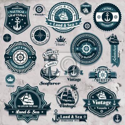 Plakat Vintage nawigacyjny template set