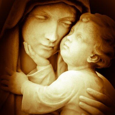 Plakat Vintage obraz Dziewicy Maryi przewożących baby Jezusa