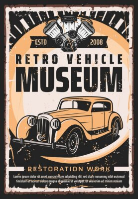Plakat Vintage old cars museum and rarity vehicle motors show retro poster. Vector retro transport restoration works center, engine repair mechanic maintenance, diagnostics and garage station