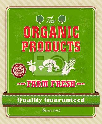 Vintage organiczny plakat z kukurydzy, grzyby