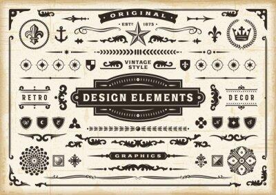 Plakat Vintage Original Design Elements Set. Editable EPS10 vector illustration in retro style with transparency.