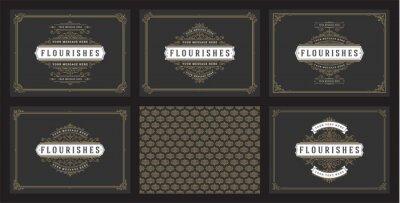 Plakat Vintage ornament greeting cards set templates flourish ornate frames and pattern background vector illustration