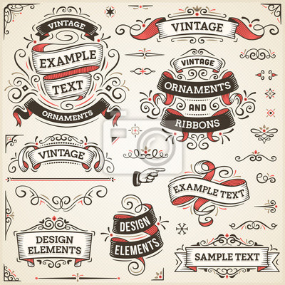 Plakat Vintage Ornaments And Ribbons