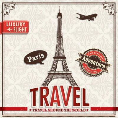 Vintage Paris wakacje plakat