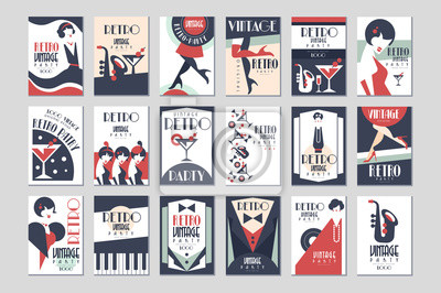 Plakat Vintage party poster set, retro style design vector Illustrations