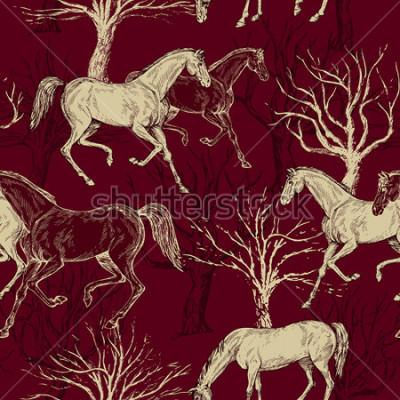 Plakat Vintage piękne tło z końmi i drzewami, kreatywne las, retro wzór, tkaniny sztuki, wektor fantasy tapety do dekoracji i projektowania