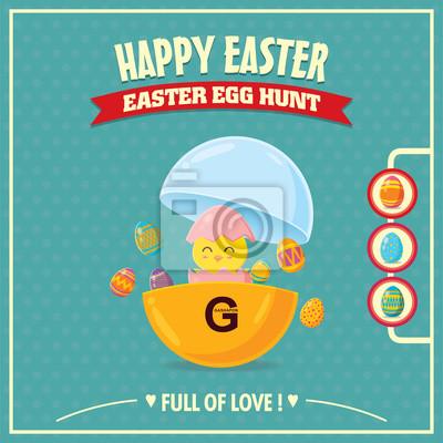 Vintage Pisanka projekt plakatu z Easter piskląt mały