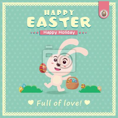 Vintage Pisanka projekt plakatu z Easter rabbit