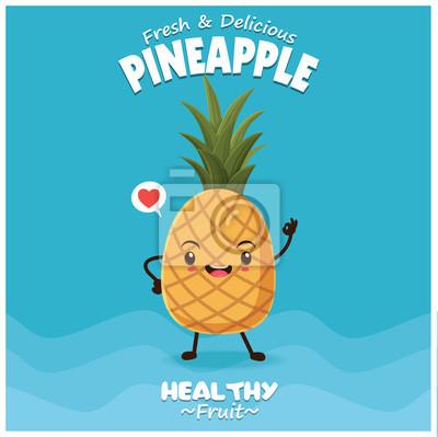 Vintage plakat ananasowy wzór z wektorem ananasem charakter.