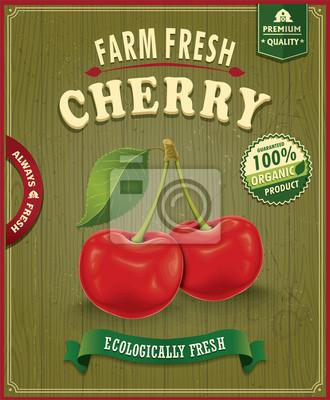 Vintage plakat Farm Fresh cherry projekt
