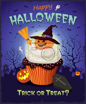 Vintage plakat Halloween ciastko projekt