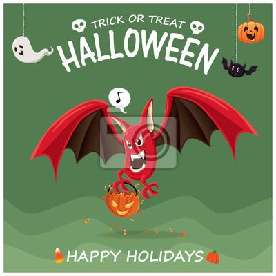 Vintage plakat Halloween plakat z charakterem bat nietoperzy.