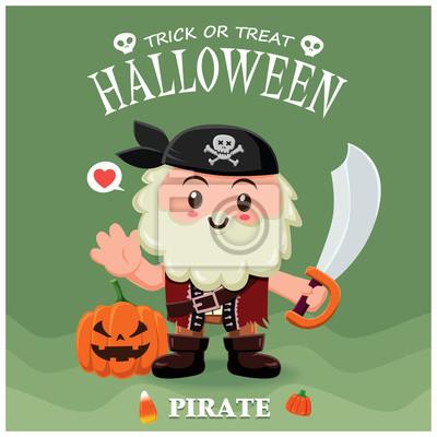 Vintage plakat Halloween plakat z charakterem pirata.