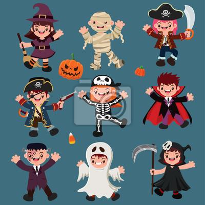 Vintage plakat Halloween plakat z czarownicą, mumią, piratem, szkieletem, wampirem, duchem, charakterem żniwiarza.