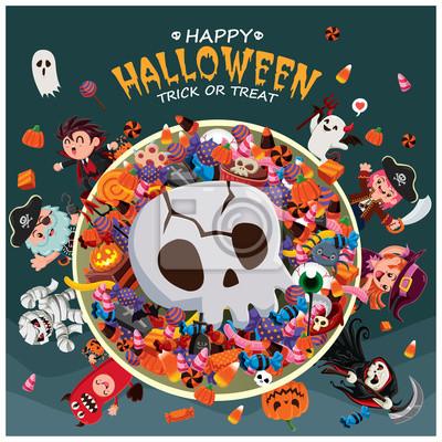 Vintage plakat Halloween plakat z czarownica wektor, duch, wampir, mumia, żniwiarz, pirat, szkielet znaków.