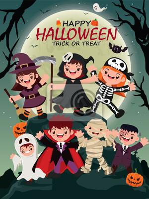 Vintage plakat Halloween plakat z czarownica wektor, mumia, szkielet, wampir, duch, żniwiarz charakter.