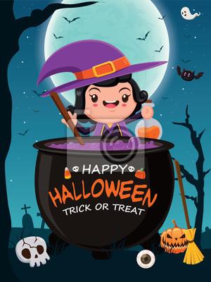 Vintage plakat Halloween plakat z czarownicą wektora znaków.