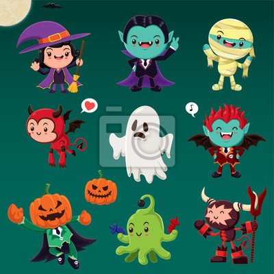 Vintage plakat Halloween plakat z demonem, czarownica, wampir, mumia, duch, cudzoziemiec, potwory.