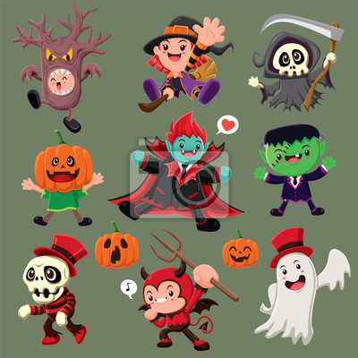 Vintage plakat Halloween plakat z demonem, czarownica, żniwiarz, wampir, duch, potwór.