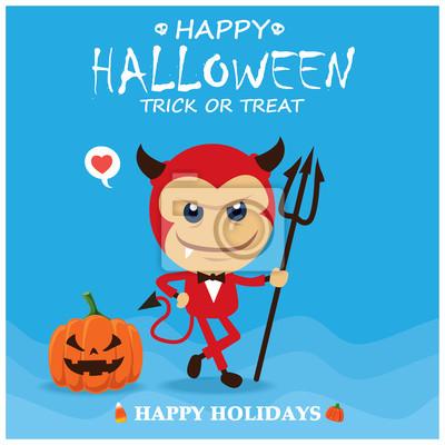 Vintage plakat Halloween plakat z demonem postaci wektorowych.