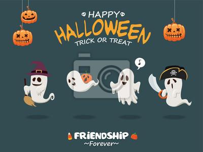 Vintage plakat Halloween plakat z duchem wektora demon, czarownica, pirat, kostium potwora.