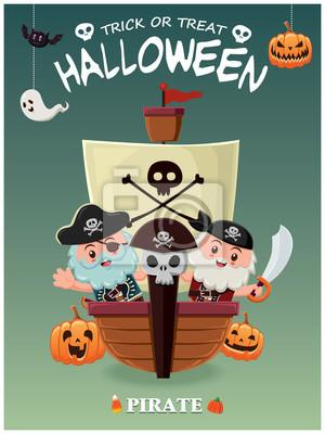 Vintage plakat Halloween plakat z piratem z charakterem łodzi.