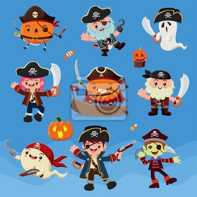 Vintage plakat Halloween plakat z postaciami piraci wektora.